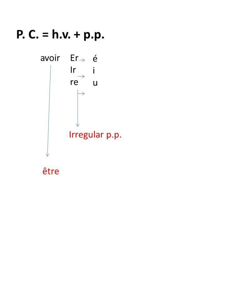 P. C. = h.v. + p.p. avoirEr Ir re éiuéiu Irregular p.p. être personal movement