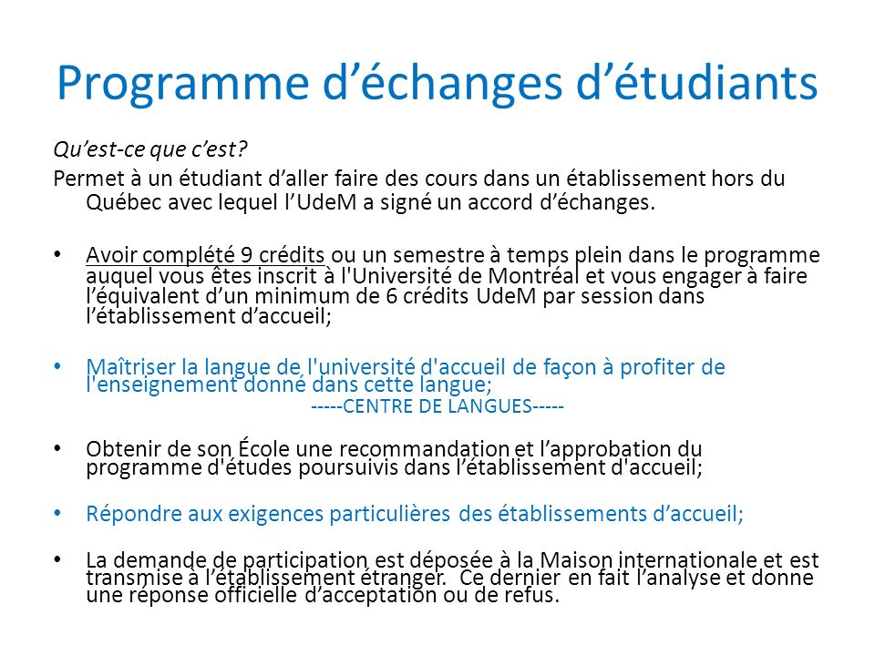 Programme déchanges détudiants Quest-ce que cest.