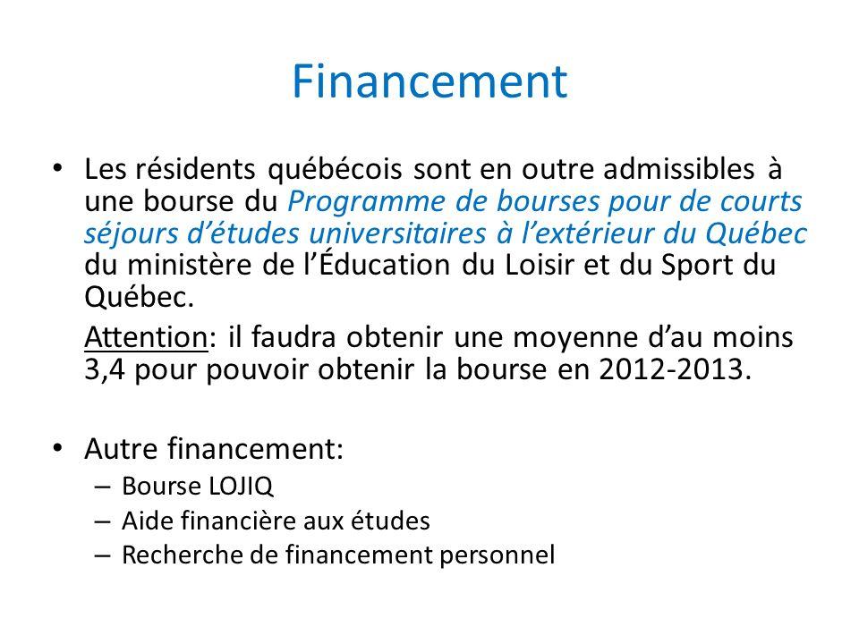 Financement Les résidents québécois sont en outre admissibles à une bourse du Programme de bourses pour de courts séjours détudes universitaires à lextérieur du Québec du ministère de lÉducation du Loisir et du Sport du Québec.