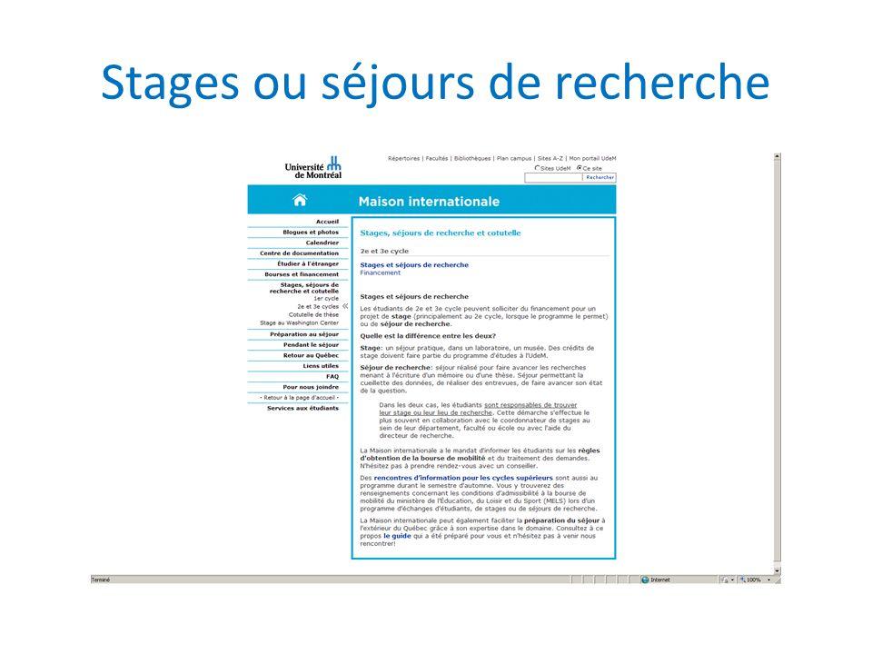 Stages ou séjours de recherche