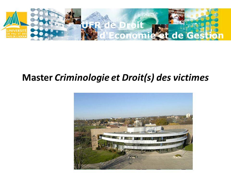 Master Criminologie et Droit(s) des victimes