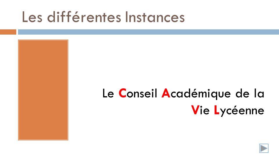 Les différentes Instances Le Conseil Académique de la Vie Lycéenne
