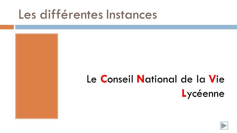 Les différentes Instances Le Conseil National de la Vie Lycéenne