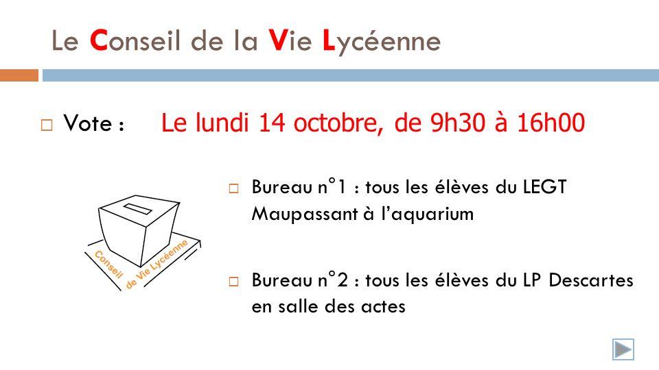Le Conseil de la Vie Lycéenne Vote : Bureau n°1 : tous les élèves du LEGT Maupassant à laquarium Le lundi 14 octobre, de 9h30 à 16h00 Bureau n°2 : tous les élèves du LP Descartes en salle des actes
