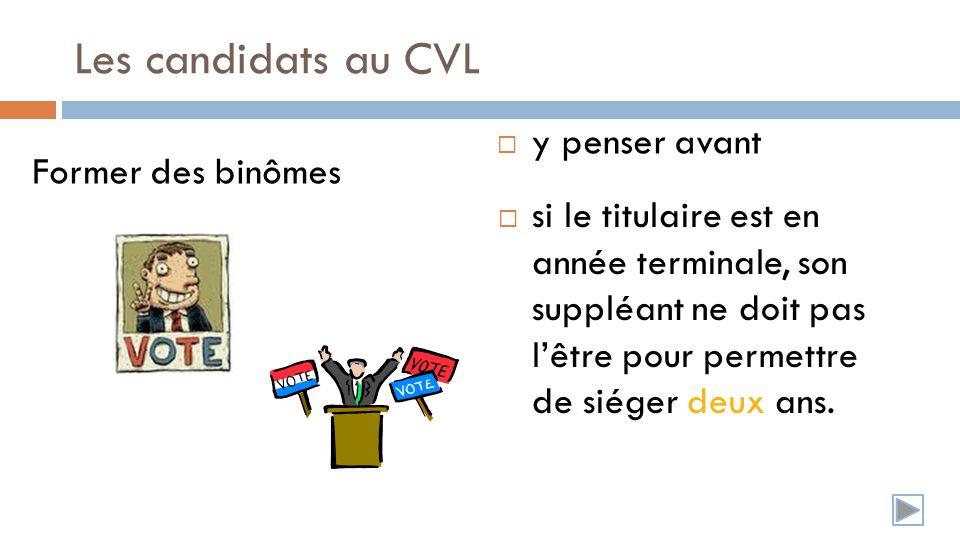 Les candidats au CVL Former des binômes si le titulaire est en année terminale, son suppléant ne doit pas lêtre pour permettre de siéger deux ans.