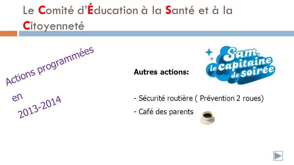 Autres actions: - Sécurité routière ( Prévention 2 roues) - Café des parents Le Comité dÉducation à la Santé et à la Citoyenneté Actions programmées en 2013-2014