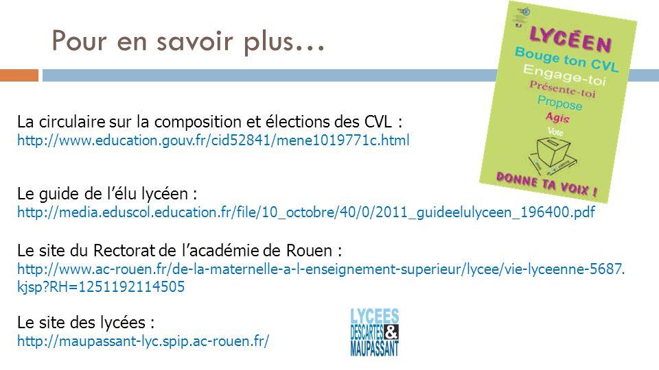 La circulaire sur la composition et élections des CVL : http://www.education.gouv.fr/cid52841/mene1019771c.html Le guide de lélu lycéen : http://media.eduscol.education.fr/file/10_octobre/40/0/2011_guideelulyceen_196400.pdf Le site du Rectorat de lacadémie de Rouen : http://www.ac-rouen.fr/de-la-maternelle-a-l-enseignement-superieur/lycee/vie-lyceenne-5687.
