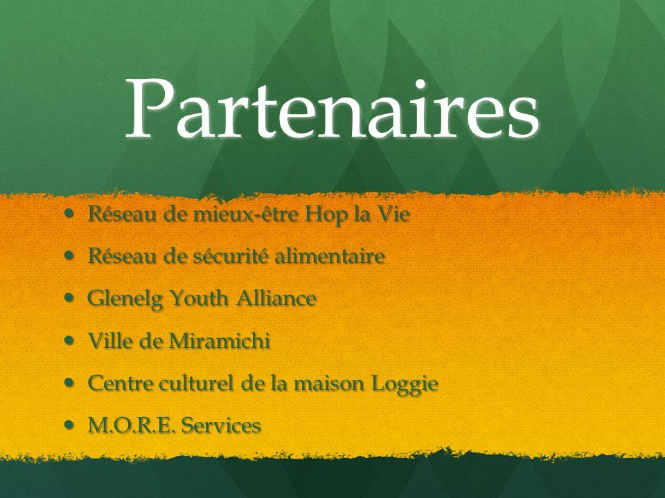 Partenaires Réseau de mieux-être Hop la Vie Réseau de mieux-être Hop la Vie Réseau de sécurité alimentaire Réseau de sécurité alimentaire Glenelg Yout