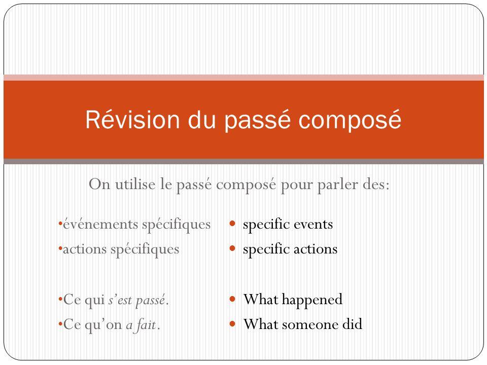On utilise le passé composé pour parler des: Révision du passé composé événements spécifiques actions spécifiques Ce qui sest passé.
