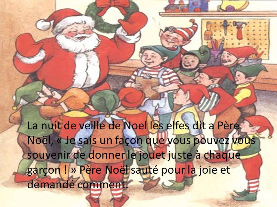 Lelfe lexplique quand il entre la maison de Jacques de les Etats-Unis il va voire un chaussette Noel ou il peut mettre le jouet et du lait et des biscuits pour lui mange, « Cest un tradition américain » dit lelfe.