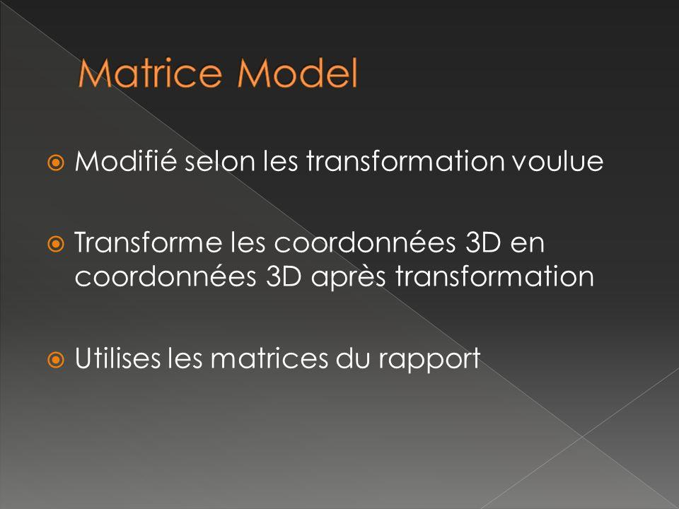 Modifié selon les transformation voulue Transforme les coordonnées 3D en coordonnées 3D après transformation Utilises les matrices du rapport