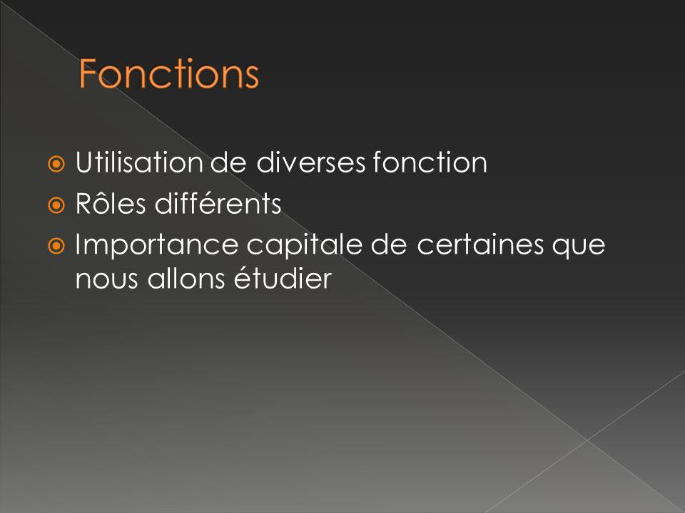Utilisation de diverses fonction Rôles différents Importance capitale de certaines que nous allons étudier
