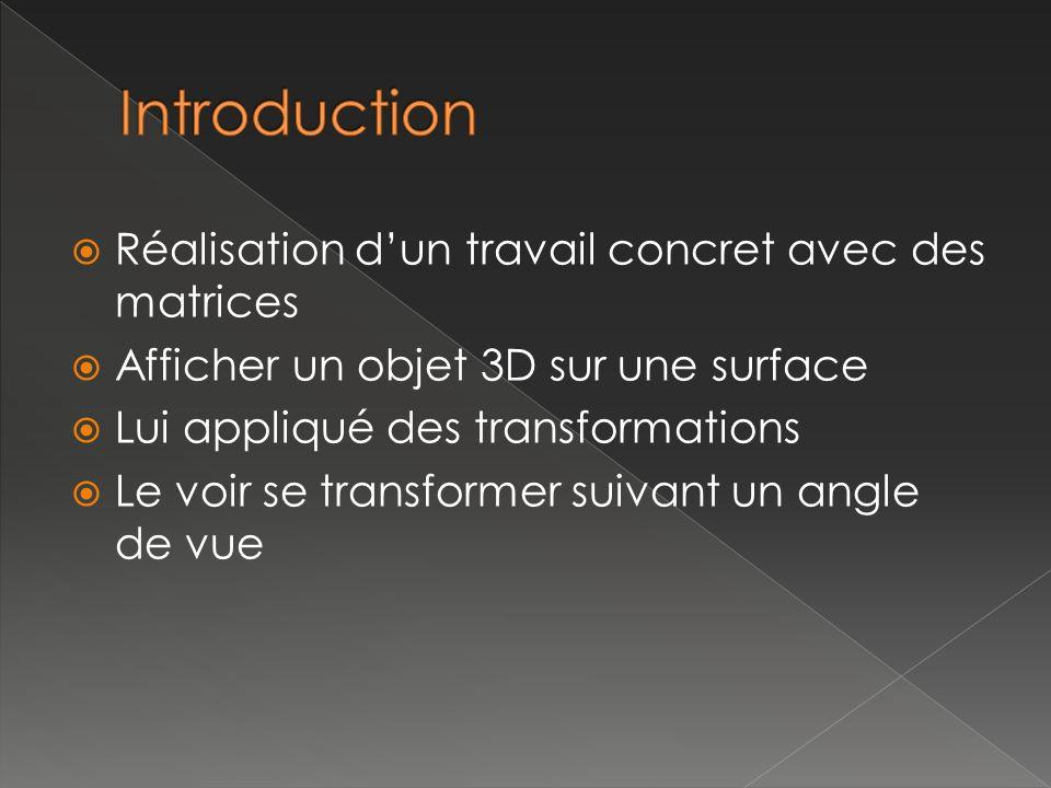 Réalisation dun travail concret avec des matrices Afficher un objet 3D sur une surface Lui appliqué des transformations Le voir se transformer suivant un angle de vue
