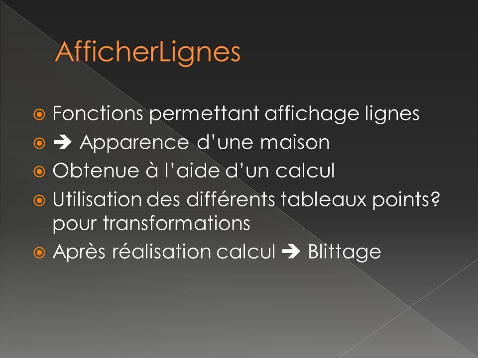 Fonctions permettant affichage lignes Apparence dune maison Obtenue à laide dun calcul Utilisation des différents tableaux points.