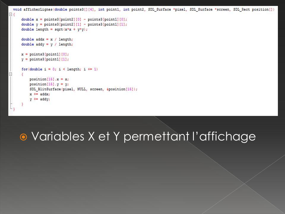 Variables X et Y permettant laffichage