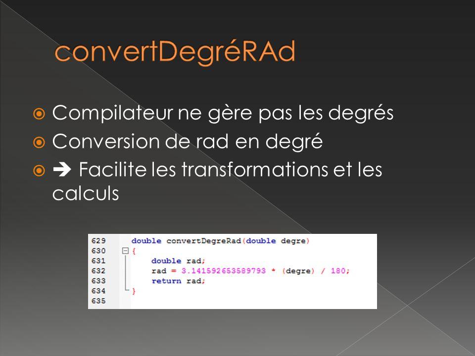 Compilateur ne gère pas les degrés Conversion de rad en degré Facilite les transformations et les calculs