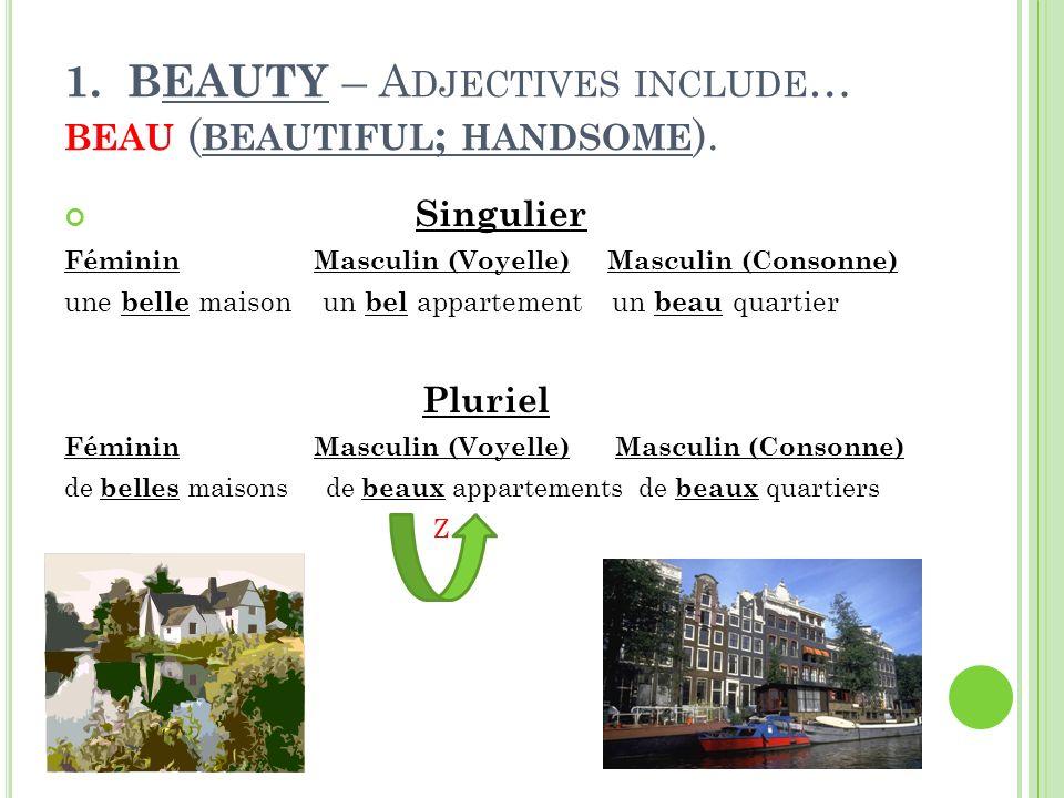 1.BEAUTY – A DJECTIVES INCLUDE … BEAU ( BEAUTIFUL ; HANDSOME ).