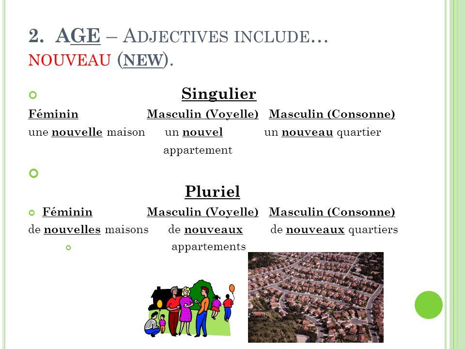 2.AGE – A DJECTIVES INCLUDE … NOUVEAU ( NEW ).