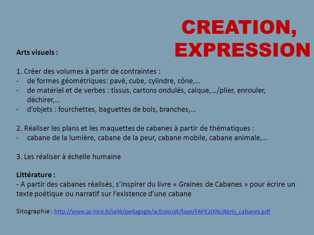 CREATION, EXPRESSION Arts visuels : 1. Créer des volumes à partir de contraintes : -de formes géométriques: pavé, cube, cylindre, cône,… -de matériel