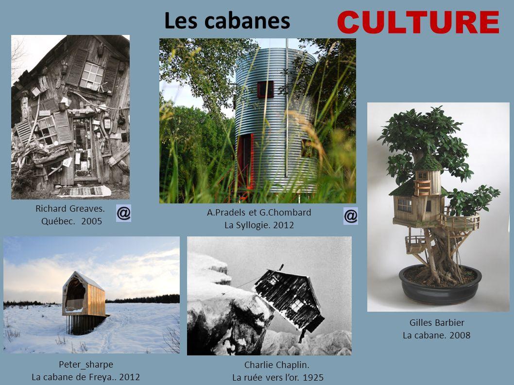 CULTURE Les cabanes Richard Greaves. Québec. 2005 Gilles Barbier La cabane. 2008 A.Pradels et G.Chombard La Syllogie. 2012 Peter_sharpe La cabane de F