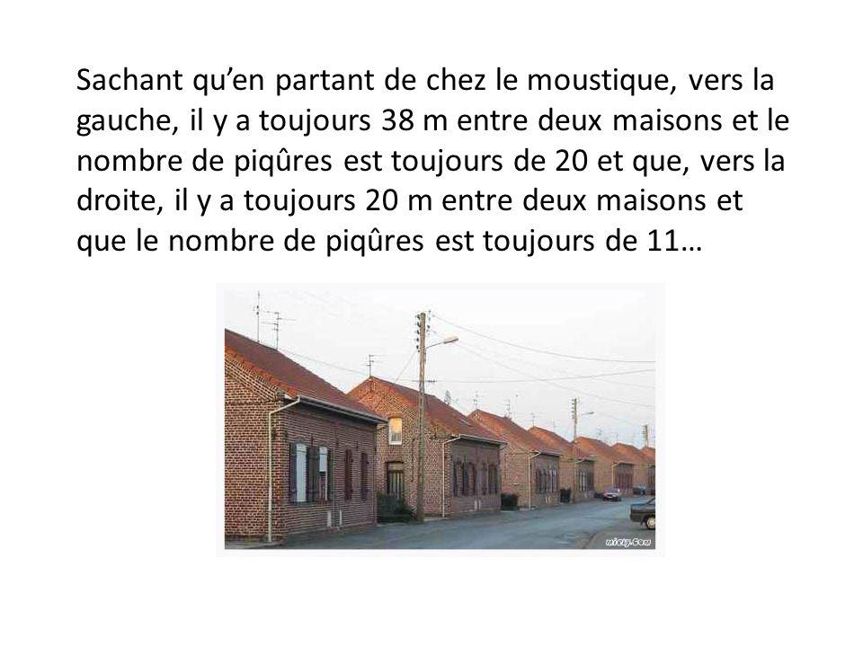 Sachant quen partant de chez le moustique, vers la gauche, il y a toujours 38 m entre deux maisons et le nombre de piqûres est toujours de 20 et que, vers la droite, il y a toujours 20 m entre deux maisons et que le nombre de piqûres est toujours de 11…