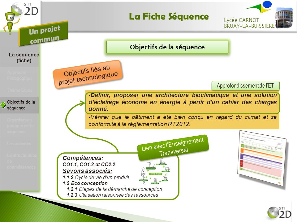 La Fiche Séquence Objectifs de la séquence -Définir, proposer une architecture bioclimatique et une solution déclairage économe en énergie à partir d un cahier des charges donné.