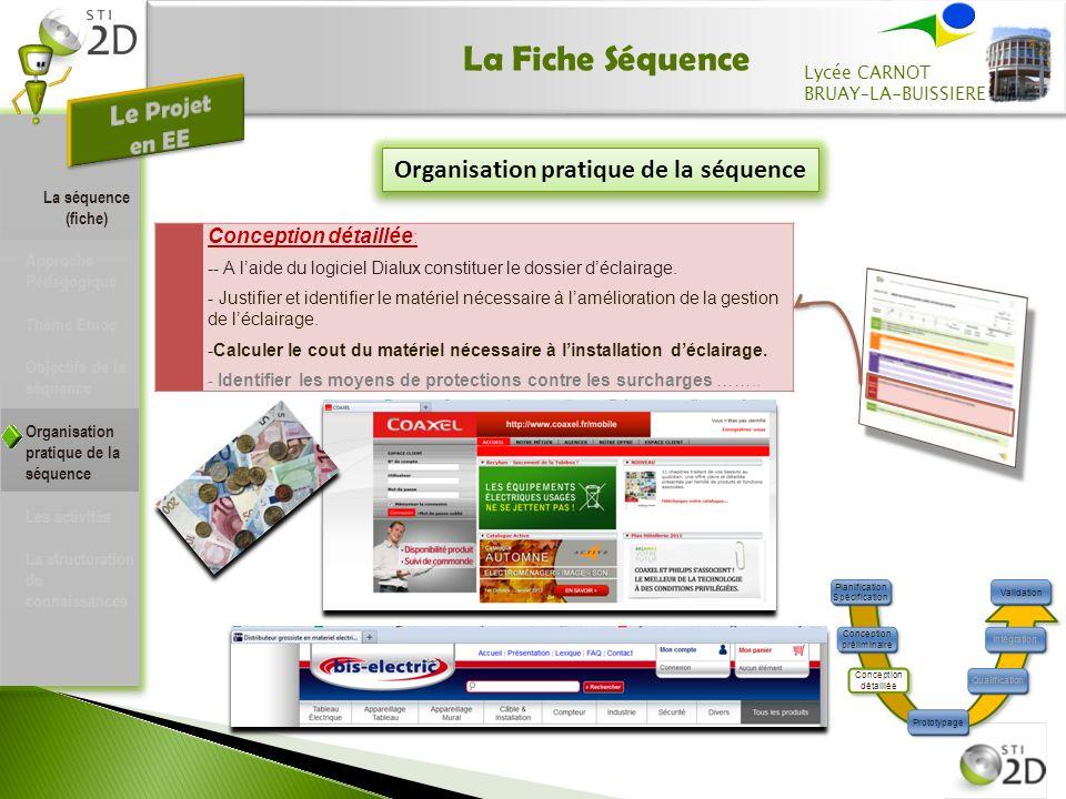 La Fiche Séquence Organisation pratique de la séquence Conception détaillée : -- A laide du logiciel Dialux constituer le dossier déclairage.
