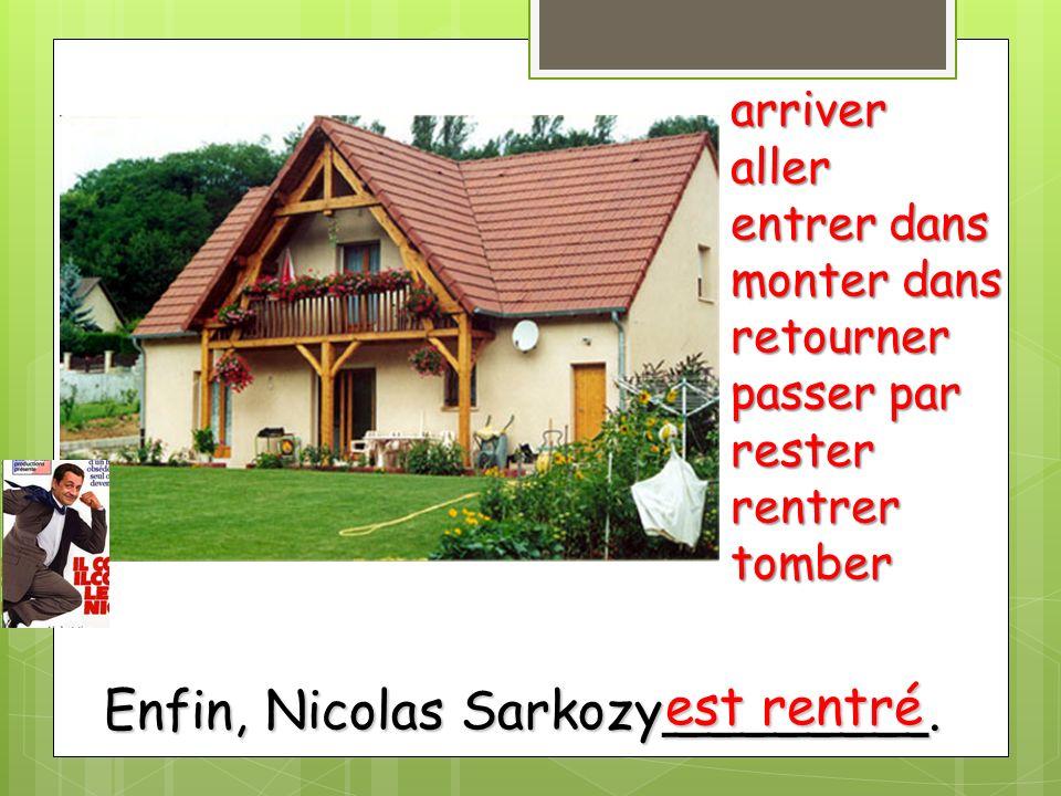 Enfin, Nicolas Sarkozy________. arriveraller entrer dans monter dans retourner passer par resterrentrertomber est rentré