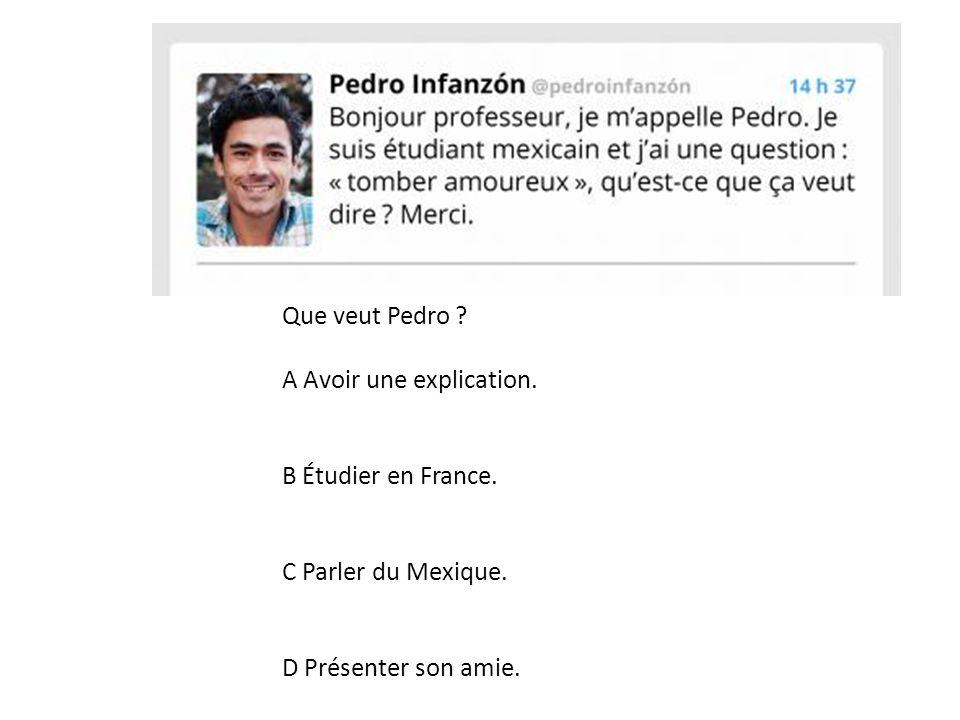Que veut Pedro? A Avoir une explication. B Étudier en France. C Parler du Mexique. D Présenter son amie.