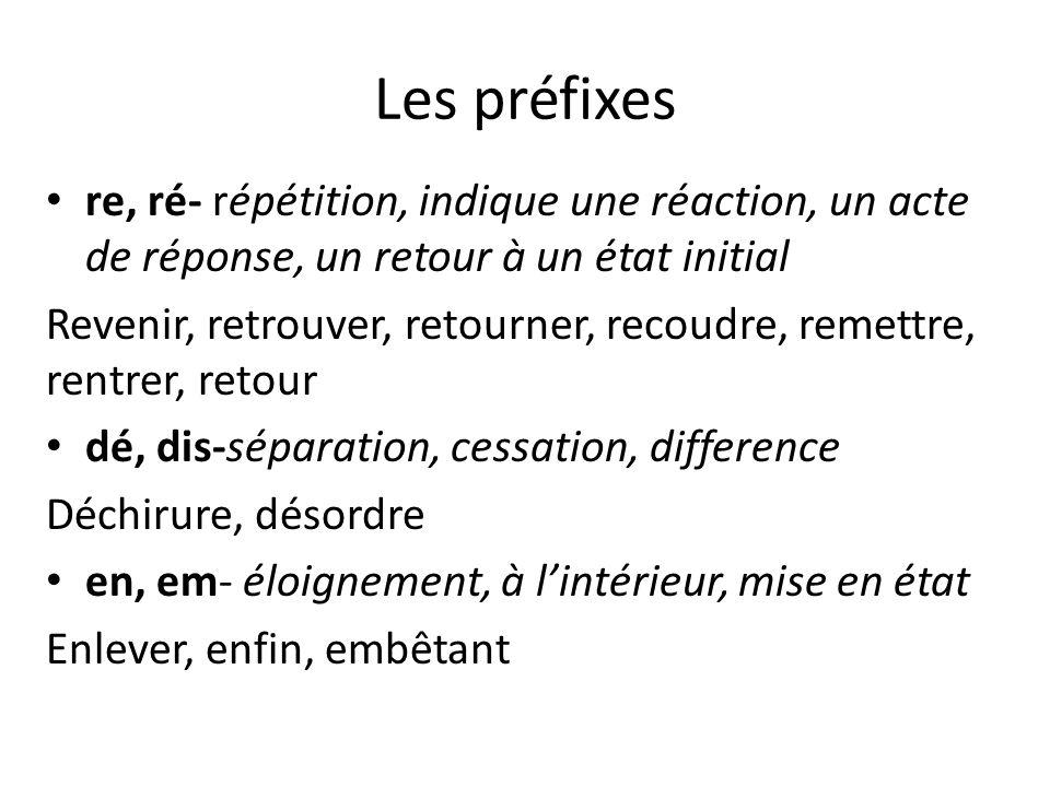 Les préfixes re, ré- répétition, indique une réaction, un acte de réponse, un retour à un état initial Revenir, retrouver, retourner, recoudre, remett