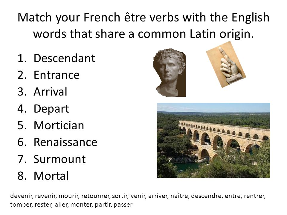 Match your French être verbs with the English words that share a common Latin origin.