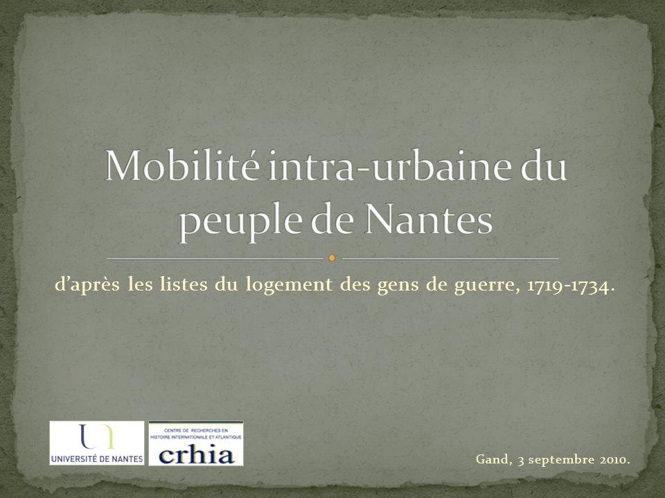 daprès les listes du logement des gens de guerre, 1719-1734. Gand, 3 septembre 2010.