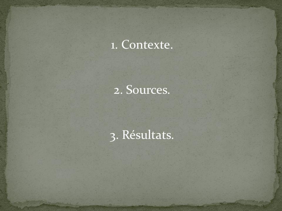 1. Contexte. 2. Sources. 3. Résultats.
