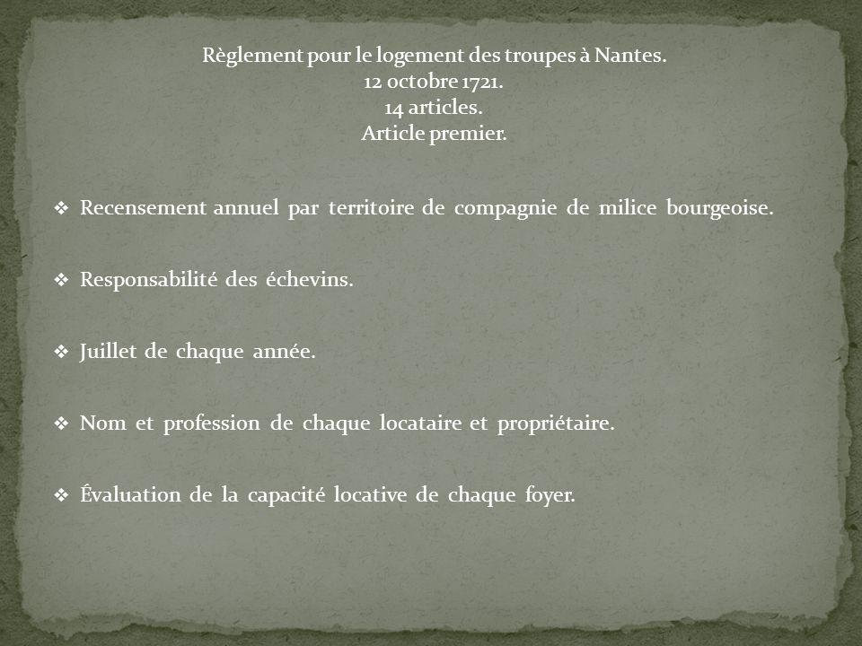Règlement pour le logement des troupes à Nantes. 12 octobre 1721.