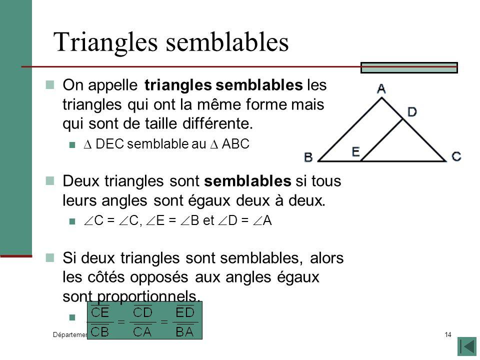 Département de mathématiques 14 Triangles semblables On appelle triangles semblables les triangles qui ont la même forme mais qui sont de taille différente.