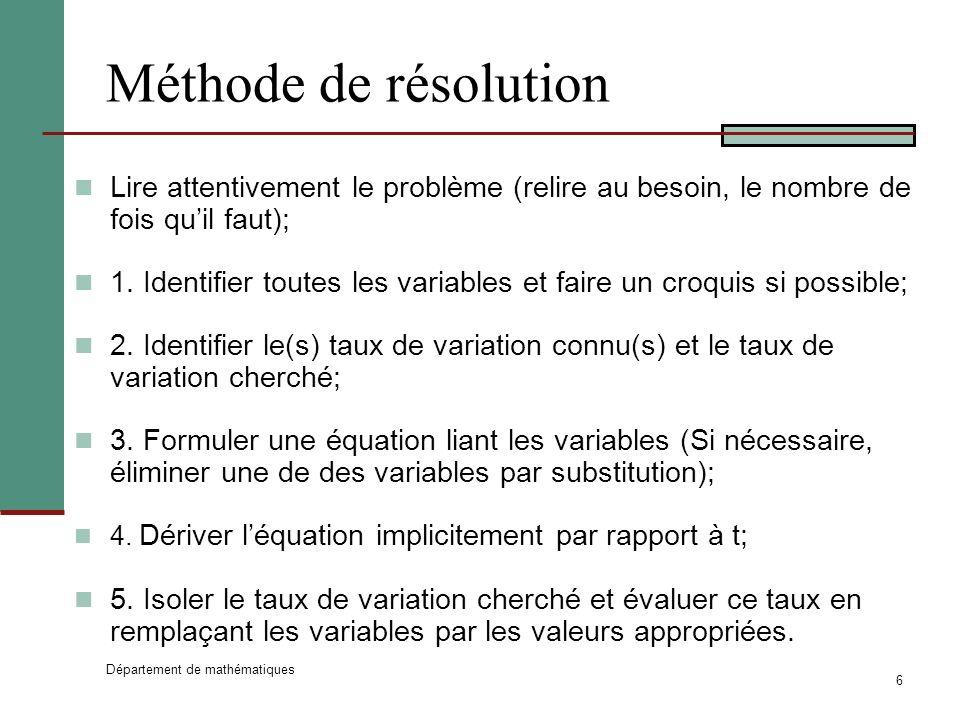 Département de mathématiques 6 Méthode de résolution Lire attentivement le problème (relire au besoin, le nombre de fois quil faut); 1.