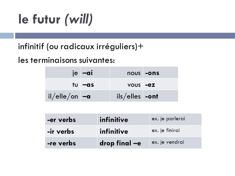le futur (will) infinitif (ou radicaux irréguliers)+ les terminaisons suivantes: je–ainous-ons tu–asvous-ez il/elle/on–ails/elles-ont -er verbsinfinitive ex.