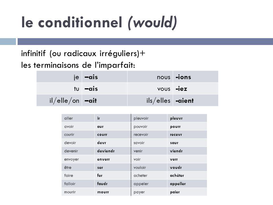 le conditionnel (would) infinitif (ou radicaux irréguliers)+ les terminaisons de limparfait: je–aisnous-ions tu–aisvous-iez il/elle/on–aitils/elles-ai