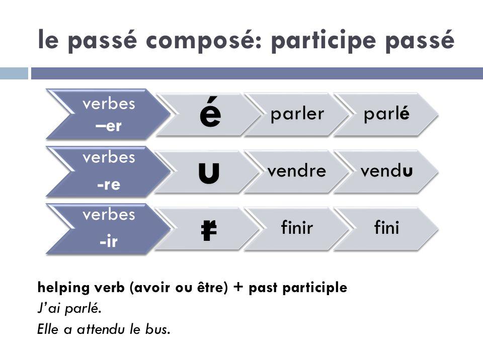 le passé composé: participe passé helping verb (avoir ou être) + past participle Jai parlé. Elle a attendu le bus. verbes –er é parlerparlé verbes -re