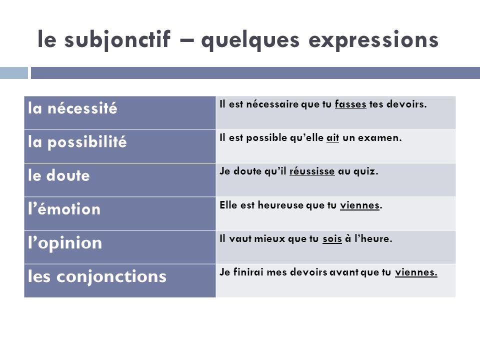 le subjonctif – quelques expressions la nécessité Il est nécessaire que tu fasses tes devoirs. la possibilité Il est possible quelle ait un examen. le