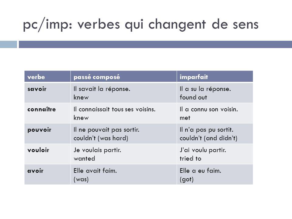 pc/imp: verbes qui changent de sens verbepassé composéimparfait savoirIl savait la réponse. knew Il a su la réponse. found out connaîtreIl connaissait
