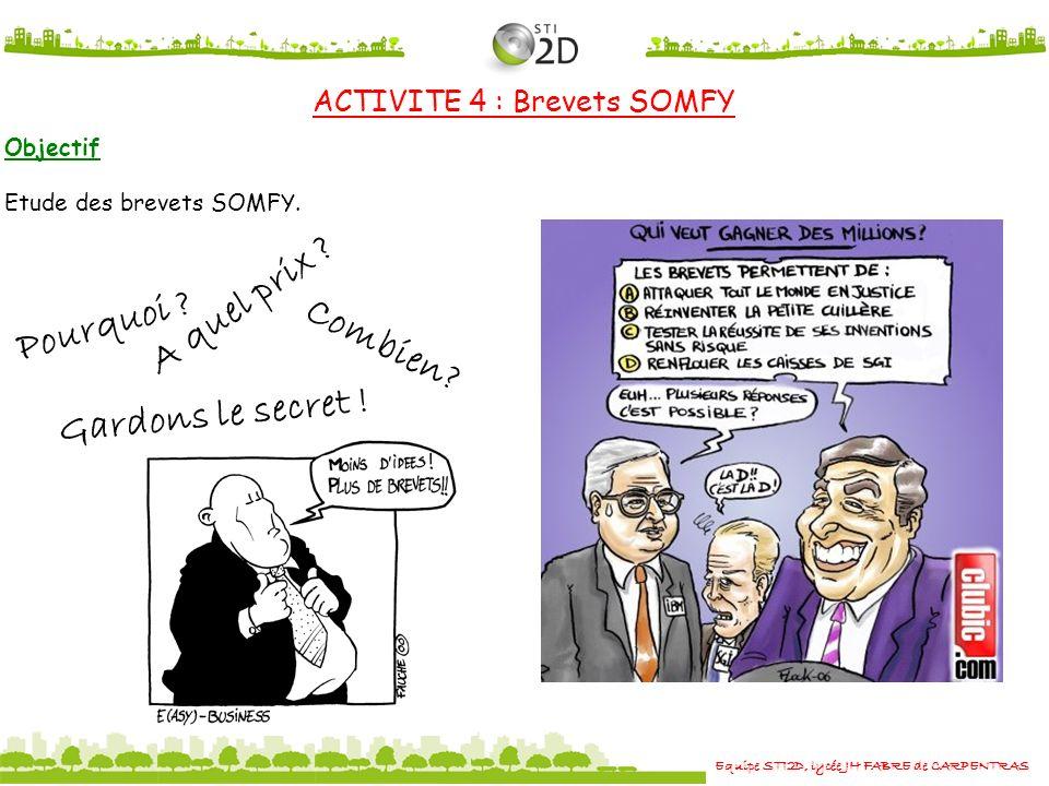 Equipe STI2D, lycée JH FABRE de CARPENTRAS ACTIVITE 4 : Brevets SOMFY Pourquoi ? Combien? Gardons le secret ! A quel prix ? Objectif Etude des brevets