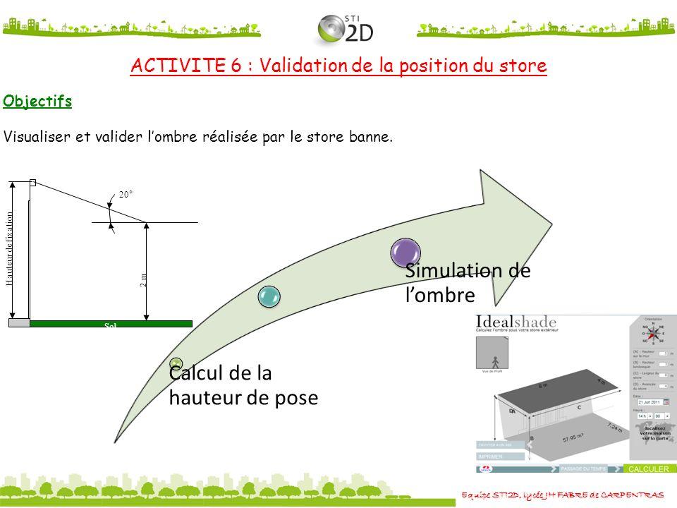 Calcul de la hauteur de pose Simulation de lombre Equipe STI2D, lycée JH FABRE de CARPENTRAS ACTIVITE 6 : Validation de la position du store Objectifs
