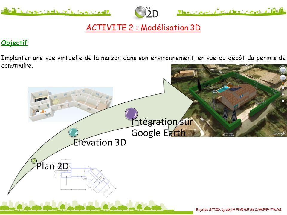 Plan 2D Elévation 3D Intégration sur Google Earth Equipe STI2D, lycée JH FABRE de CARPENTRAS ACTIVITE 2 : Modélisation 3D Objectif Implanter une vue virtuelle de la maison dans son environnement, en vue du dépôt du permis de construire.