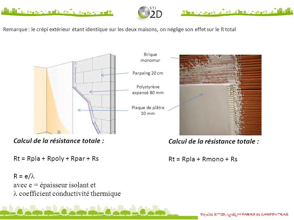Equipe STI2D, lycée JH FABRE de CARPENTRAS Remarque : le crépi extérieur étant identique sur les deux maisons, on néglige son effet sur le R total Plaque de plâtre 10 mm Polystyrène expansé 80 mm Parpaing 20 cm Brique monomur Calcul de la résistance totale : Rt = Rpla + Rpoly + Rpar + Rs R = e/ λ avec e = épaisseur isolant et λ coefficient conductivité thermique Calcul de la résistance totale : Rt = Rpla + Rmono + Rs