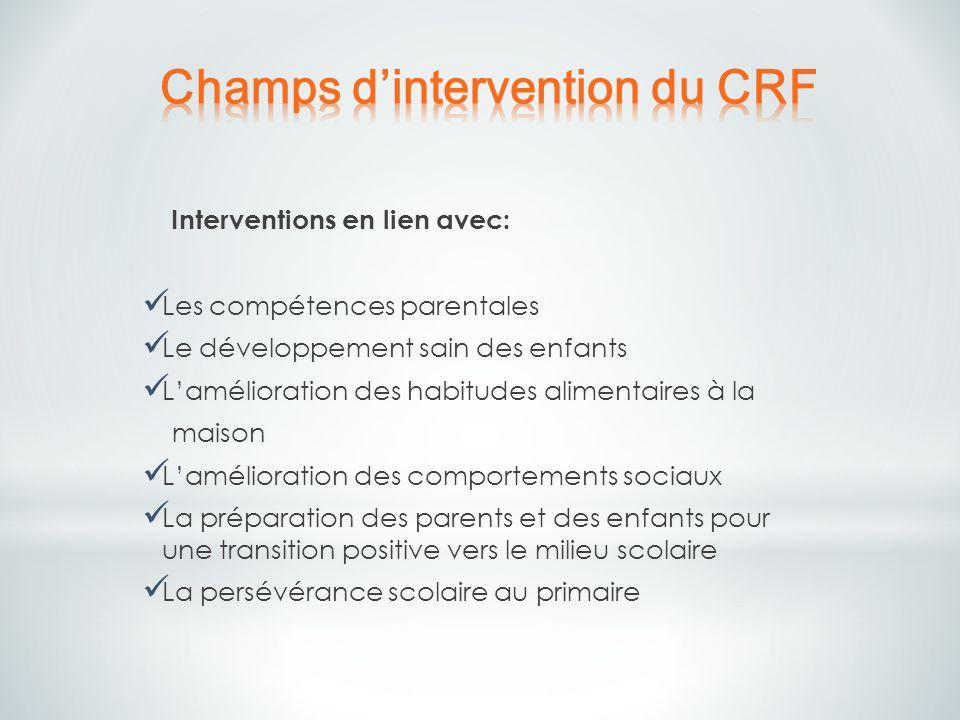 Interventions en lien avec: Les compétences parentales Le développement sain des enfants Lamélioration des habitudes alimentaires à la maison Lamélior