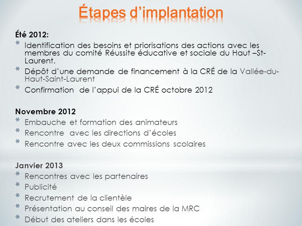 Été 2012: * Identification des besoins et priorisations des actions avec les membres du comité Réussite éducative et sociale du Haut –St- Laurent. * D