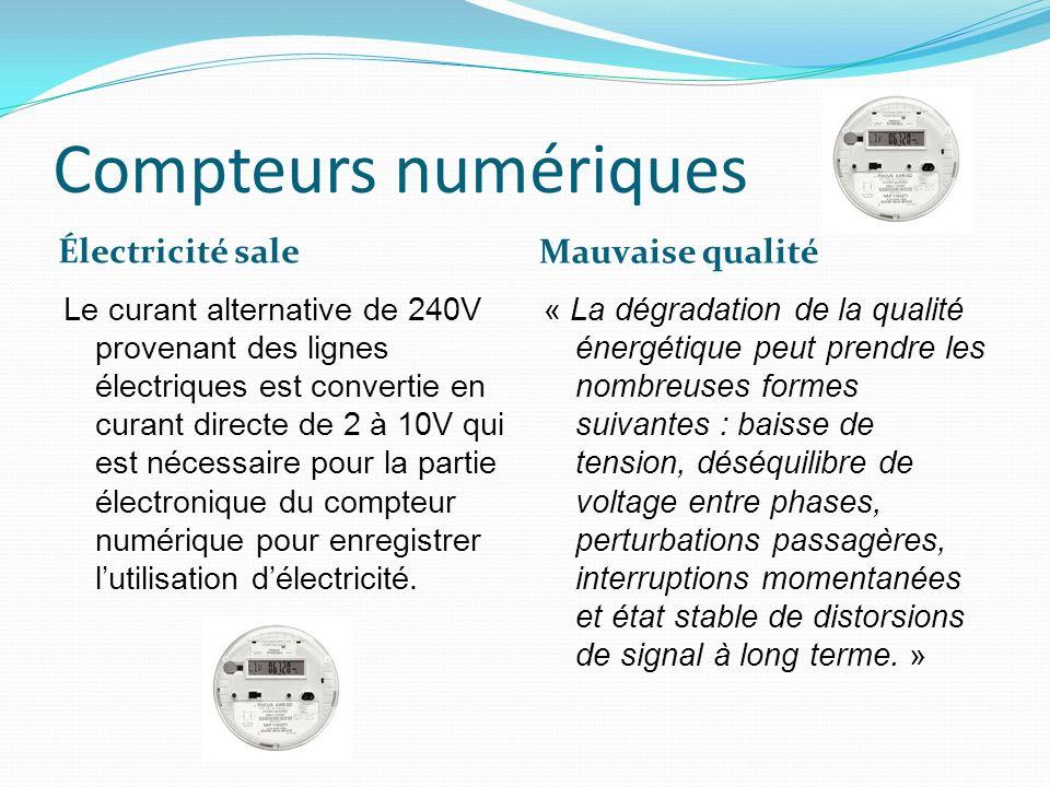 Compteurs numériques Électricité sale Mauvaise qualité Le curant alternative de 240V provenant des lignes électriques est convertie en curant directe de 2 à 10V qui est nécessaire pour la partie électronique du compteur numérique pour enregistrer lutilisation délectricité.