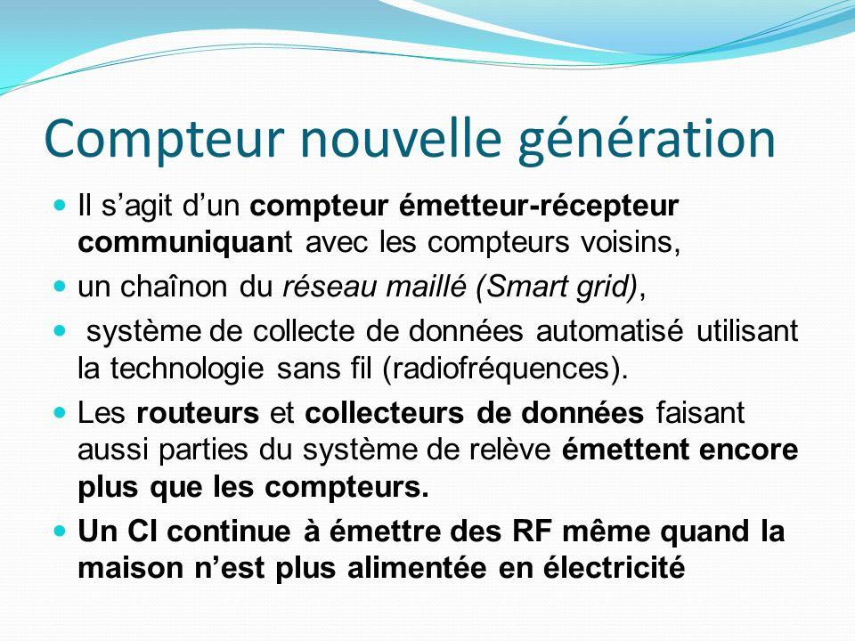 Compteur nouvelle génération Il sagit dun compteur émetteur-récepteur communiquant avec les compteurs voisins, un chaînon du réseau maillé (Smart grid), système de collecte de données automatisé utilisant la technologie sans fil (radiofréquences).