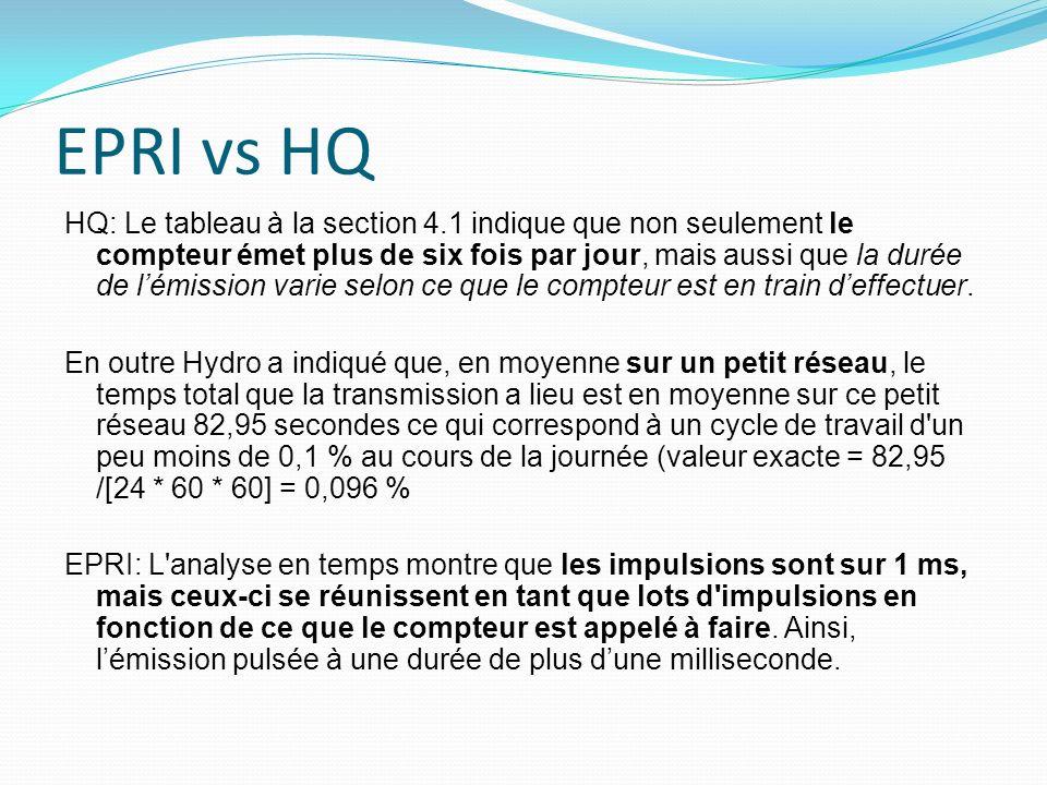 EPRI vs HQ HQ: Le tableau à la section 4.1 indique que non seulement le compteur émet plus de six fois par jour, mais aussi que la durée de lémission varie selon ce que le compteur est en train deffectuer.